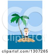 Clipart Of A Flat Design White Businessman Trapped On An Island Royalty Free Vector Illustration by Vector Tradition SM