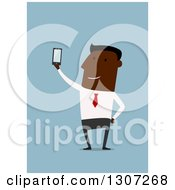 Clipart Of A Flat Design Black Businessman Taking A Selfie With A Cell Phone On Blue Royalty Free Vector Illustration