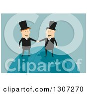 Clipart Of A Flat Design White Businessman And Industrialist Shaking Hands On A Globe Over Green Royalty Free Vector Illustration