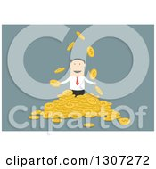 Clipart Of A Flat Design White Businessman With A Pile Of Dollar Coins On Blue Royalty Free Vector Illustration