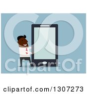 Clipart Of A Flat Design Black Businessman Presenting A Giant Smart Cell Phone On Blue Royalty Free Vector Illustration