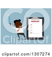Clipart Of A Flat Design Black Businessman Holding Up A Pencil By A Check List On Blue Royalty Free Vector Illustration