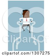 Clipart Of A Flat Design Black Businessman Stuck In A Bottle On Blue Royalty Free Vector Illustration