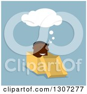 Clipart Of A Flat Design Black Businessman Thinking Outside A Box On Blue Royalty Free Vector Illustration