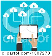 Clipart Of A Flat Design Of A Businessmans Hands Using A Tablet Computer And Cloud Storage Over Blue Royalty Free Vector Illustration
