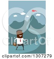 Clipart Of A Flat Design Black Businessman Walking On A Path To A Top Of A Hill Royalty Free Vector Illustration
