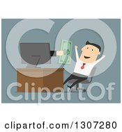 Clipart Of A Flat Design Of A Hand Giving Cash To A Businessman Through A Computer Screen Over Blue Royalty Free Vector Illustration