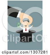 Clipart Of A Flat Design Of A Hand Pulling A Businessman With Cash Out Of A Top Hat On Blue Royalty Free Vector Illustration