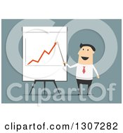 Flat Modern White Businessman Discussing A Growth Chart