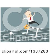 Clipart Of A Flat Modern White Businessman Hitting A Hurdle On A Track Royalty Free Vector Illustration by Vector Tradition SM