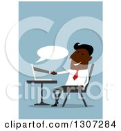 Clipart Of A Flat Design Black Businessman Shaking Hands Through A Computer On Blue Royalty Free Vector Illustration