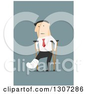 Clipart Of A Flat Design Of A Hurt White Businessman Using Crutches On Blue Royalty Free Vector Illustration