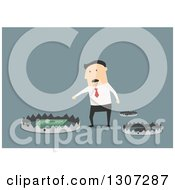 Clipart Of A Flat Design White Businessman Reaching For Cash In A Trap On Blue Royalty Free Vector Illustration