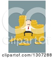 Clipart Of A Flat Design Of A White Businessman With Stacks Of Coins On Blue Royalty Free Vector Illustration