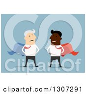 Clipart Of A Flat Design Happy Young Black Business Man Super Hero And Old Senior White Man On Blue Royalty Free Vector Illustration