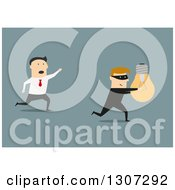 Clipart Of A Flat Design Of A Man Chasing After A Robber That Stole His Idea On Blue Royalty Free Vector Illustration by Vector Tradition SM
