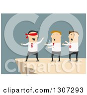 Clipart Of A Flat Design Of A Blindfolded Businessman Leading Men To A Cliff Over Blue Royalty Free Vector Illustration