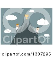 Clipart Of A Flat Design Of Businessmen Climbing Opposite Sides Of A Mountain To Reach The Trophy At The Top Over Blue Royalty Free Vector Illustration by Seamartini Graphics