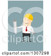 Clipart Of A Flat Design White Contractor Worker Holding Plans On Blue Royalty Free Vector Illustration by Vector Tradition SM