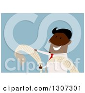 Clipart Of A Flat Design Black Businessman Reading A Long List Royalty Free Vector Illustration