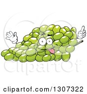 Clipart Of A Goofy Cartoon Bunch Of Green Grapes Character Royalty Free Vector Illustration