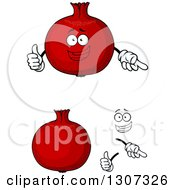 Clipart Of A Cartoon Face Hands And Pomegranates Royalty Free Vector Illustration