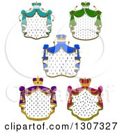 Clipart Of Crowns And Patterned Royal Mantlse With Different Colored Drapes Royalty Free Vector Illustration
