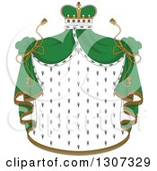 Clipart Of A Crown And Patterned Royal Mantle With Green Drapes Royalty Free Vector Illustration by Vector Tradition SM