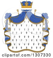 Clipart Of A Crown And Patterned Royal Mantle With Blue Drapes Royalty Free Vector Illustration by Vector Tradition SM