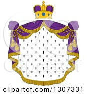 Clipart Of A Crown And Patterned Royal Mantle With Purple Drapes Royalty Free Vector Illustration