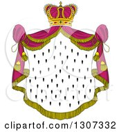 Clipart Of A Crown And Patterned Royal Mantle With Pink Drapes Royalty Free Vector Illustration by Vector Tradition SM