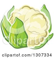 Clipart Of A Cartoon White Cauliflower With Green Leaves Royalty Free Vector Illustration
