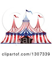 Clipart Of A Red White And Blue Big Top Circus Tent Royalty Free Vector Illustration
