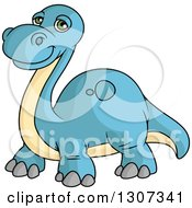 Clipart Of A Cartoon Blue And Beige Apatosaurus Dinosaur Royalty Free Vector Illustration by Vector Tradition SM