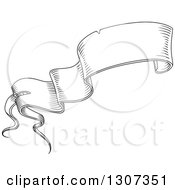 Clipart Of A Black And White Sketched Vintage Styled Blank Ribbon Banner 12 Royalty Free Vector Illustration