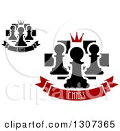 Clipart Of Chess Boards With Crowns And Pawns Over Banners With Text Royalty Free Vector Illustration