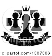 Clipart Of A Back And White Chess Board With A Crown And Pawns Over A Text Banner Royalty Free Vector Illustration