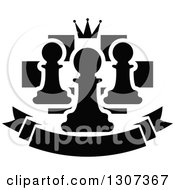 Clipart Of A Back And White Chess Board With A Crown And Pawns Over A Blank Banner Royalty Free Vector Illustration
