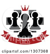Clipart Of A Chess Board With A Crown And Pawns Over A Red Text Banner Royalty Free Vector Illustration
