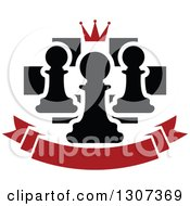 Clipart Of A Chess Board With A Crown And Pawns Over A Blank Red Banner Royalty Free Vector Illustration