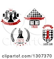 Clipart Of Chess Game Designs With Text Royalty Free Vector Illustration