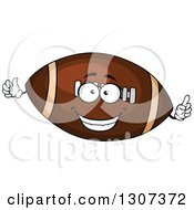 Cartoon Happy American Football Character Holding Up A Finger And Thumb