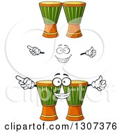 Clipart Of A Cartoon Face Hands And Djembe Goblet Drums Royalty Free Vector Illustration