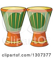 Clipart Of Cartoon Djembe Goblet Drums Royalty Free Vector Illustration
