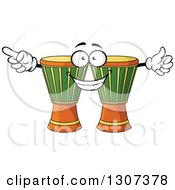 Clipart Of A Cartoon Djembe Goblet Drums Character Royalty Free Vector Illustration