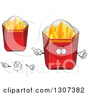 Clipart Of A Cartoon Face Hands And Red Boxes Of Crinkle French Fries Royalty Free Vector Illustration by Vector Tradition SM