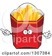 Clipart Of A Cartoon Red Box Of Crinkle French Fries Character Royalty Free Vector Illustration by Vector Tradition SM