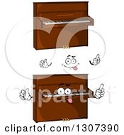 Clipart Of A Cartoon Face Hands And Pianos Royalty Free Vector Illustration