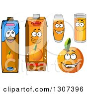 Clipart Of A Cartoon Peach Apricot Or Nectarine Character And Juices Royalty Free Vector Illustration