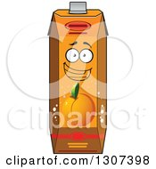 Clipart Of A Cartoon Peach Apricot Or Nectarine Juice Carton Character 2 Royalty Free Vector Illustration